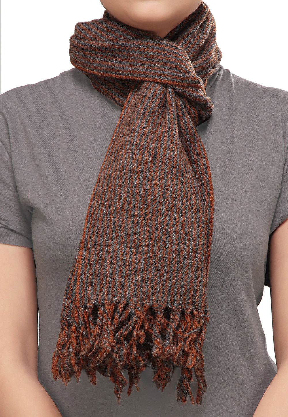 Stripe Pattern Woolen Blend Stole in Rust
