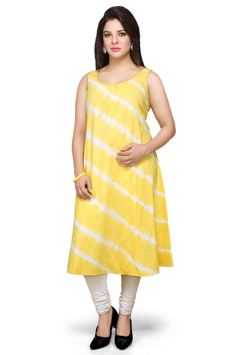 Printed Cotton Tunic In Yellow