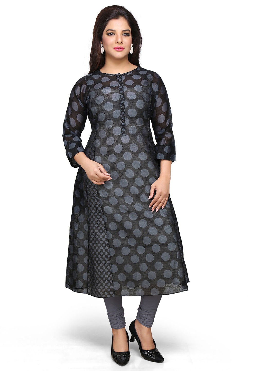 Printed Chanderi Long Kurta Set in Black