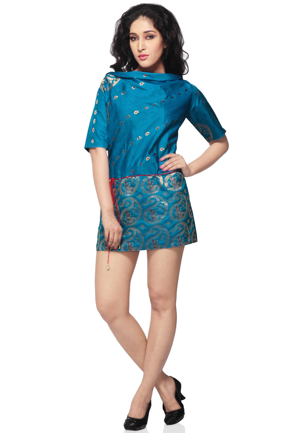 Pure Silk Short Dress in Teal Blue