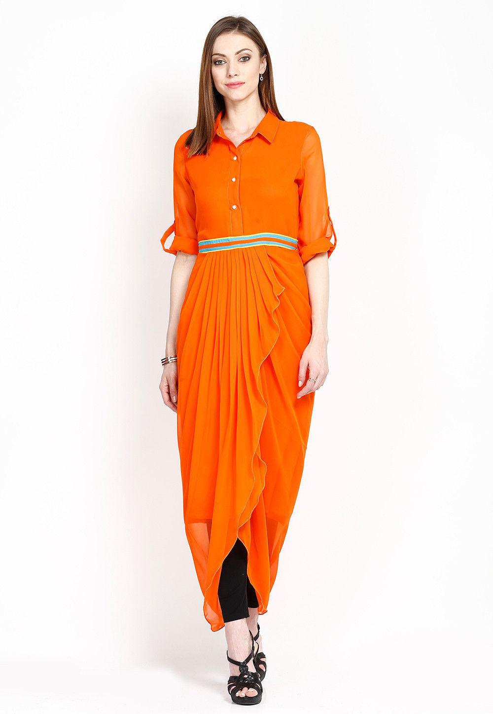 Plain Georgette Dhoti Style Tunic in Orange