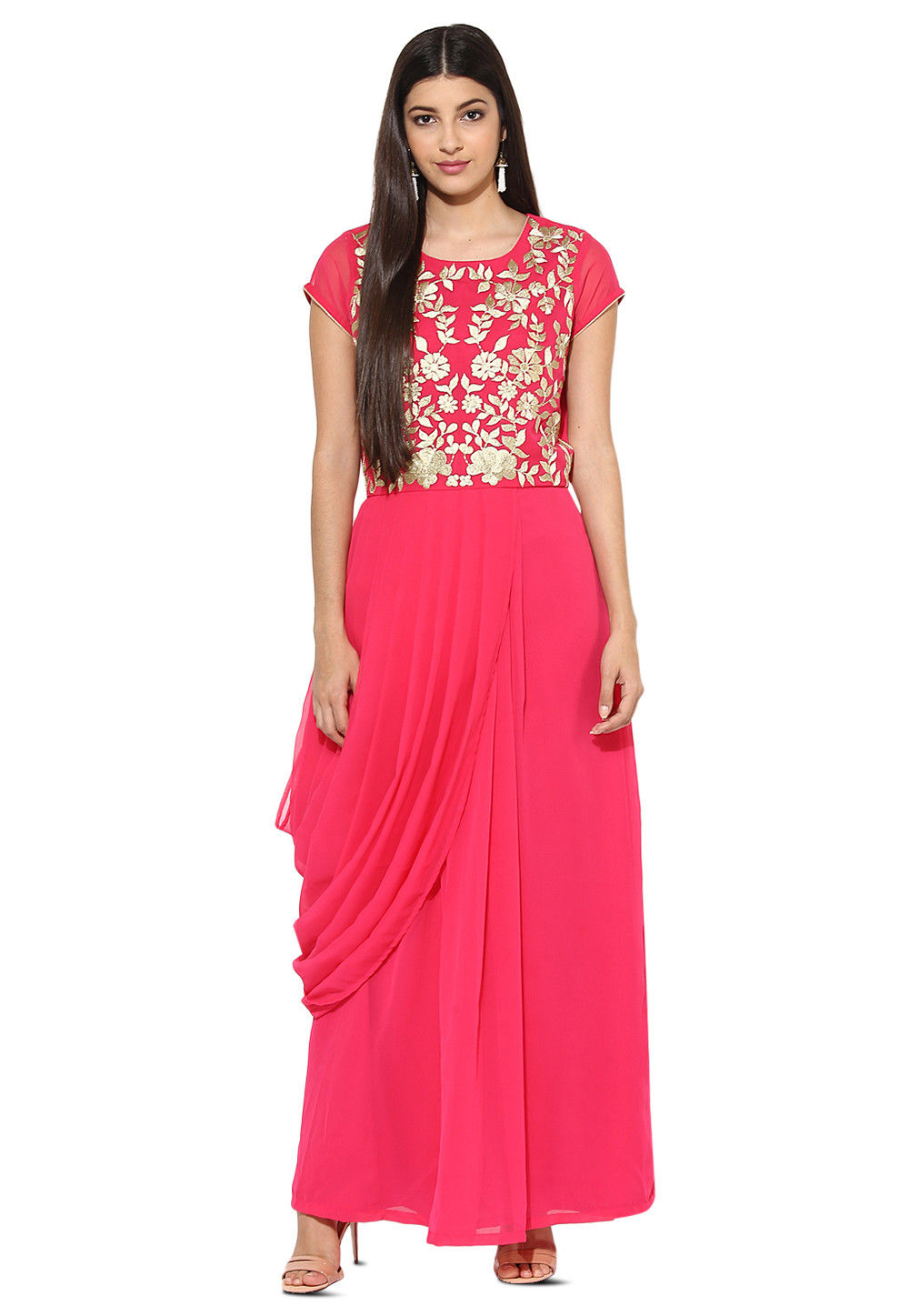 Embroidered Georgette Pleated Gown in Fuchsia : TUZ39