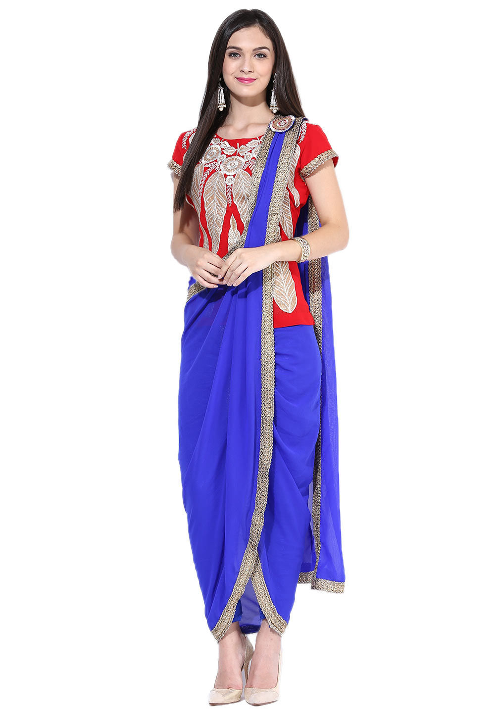 Embroidered Georgette Top With Dhoti Pant In Red and Blue