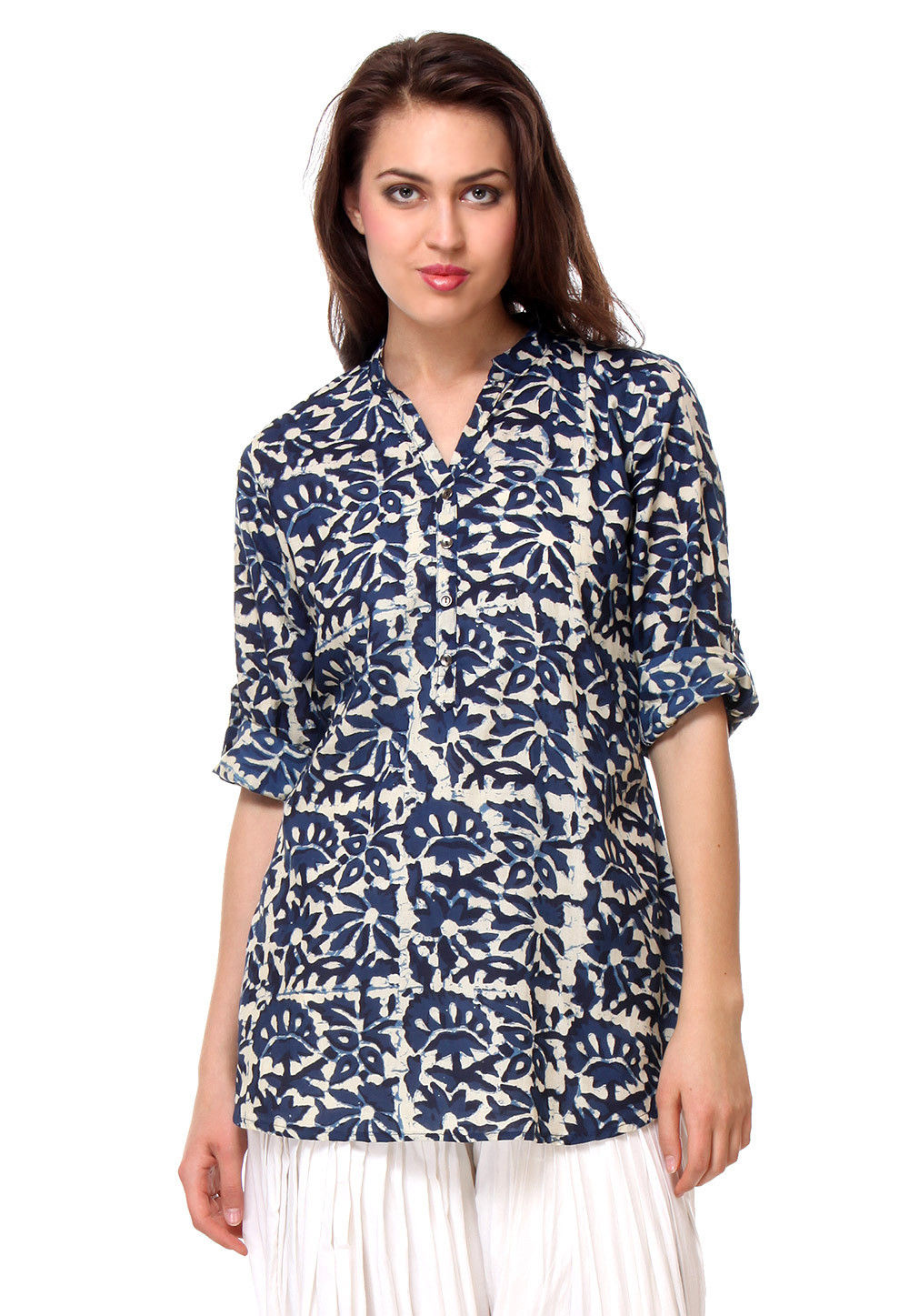 Printed Cotton Kurti in Blue