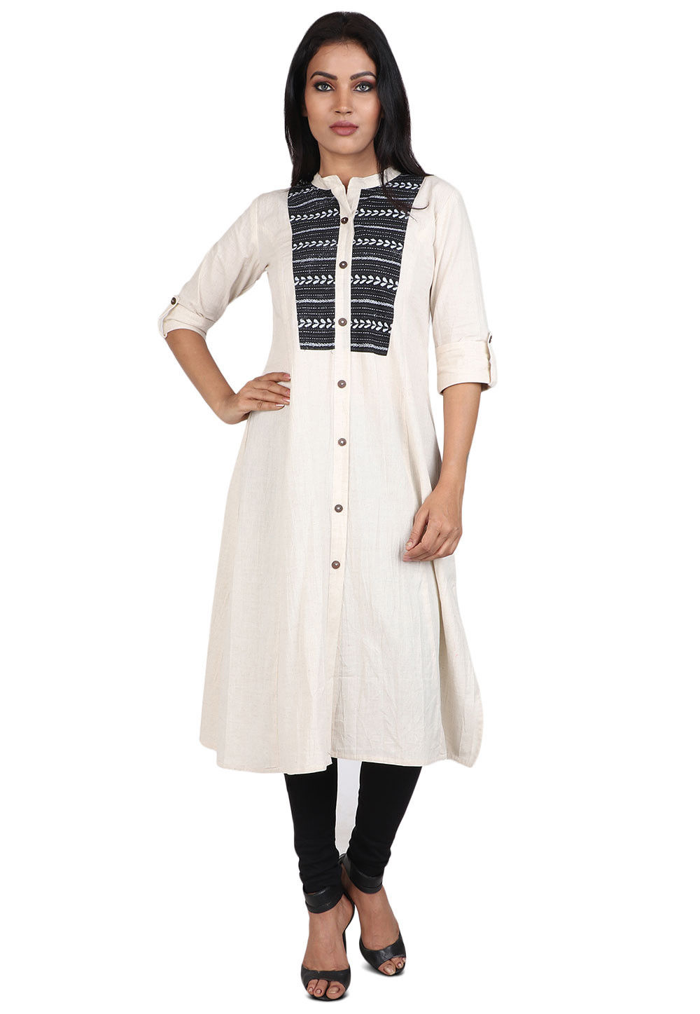 Printed Cotton Kurta in Cream