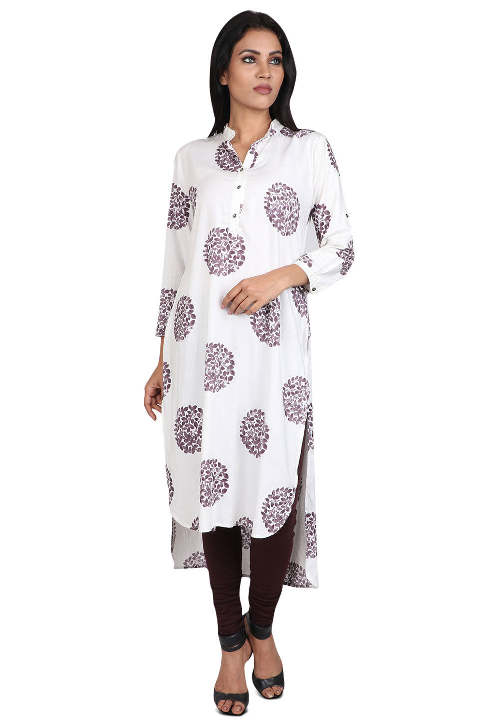 Printed Rayon High Low Kurta in Off White