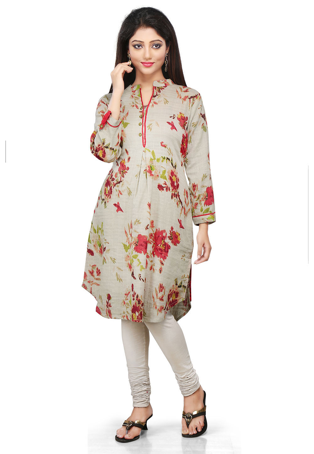Printed Cotton Kurta in Light Grey