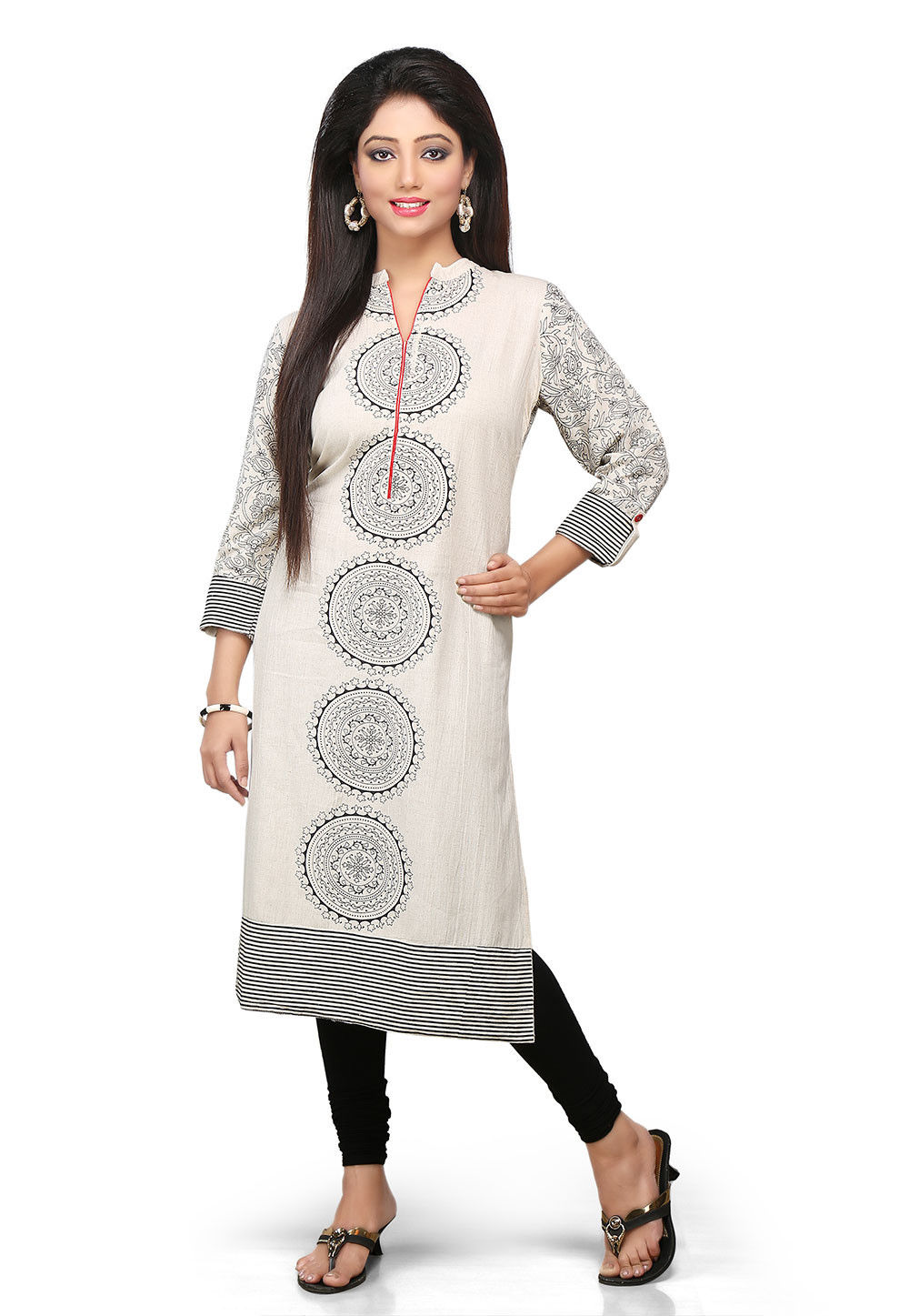 Printed Cotton Long Kurta In Off White