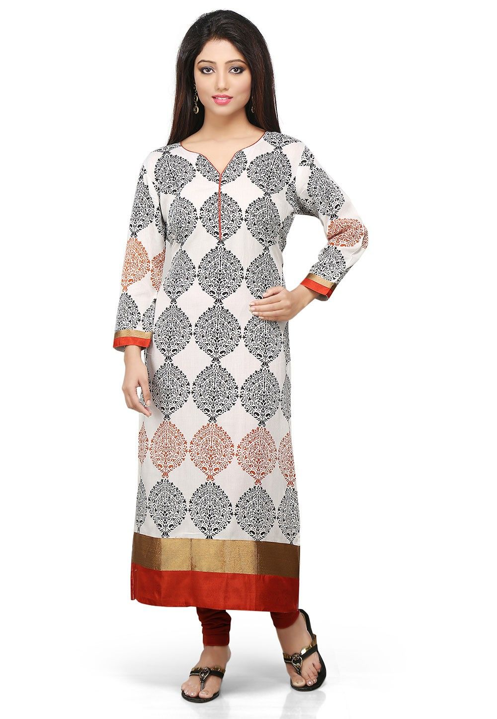 Printed Cotton Long Kurta in Light Beige