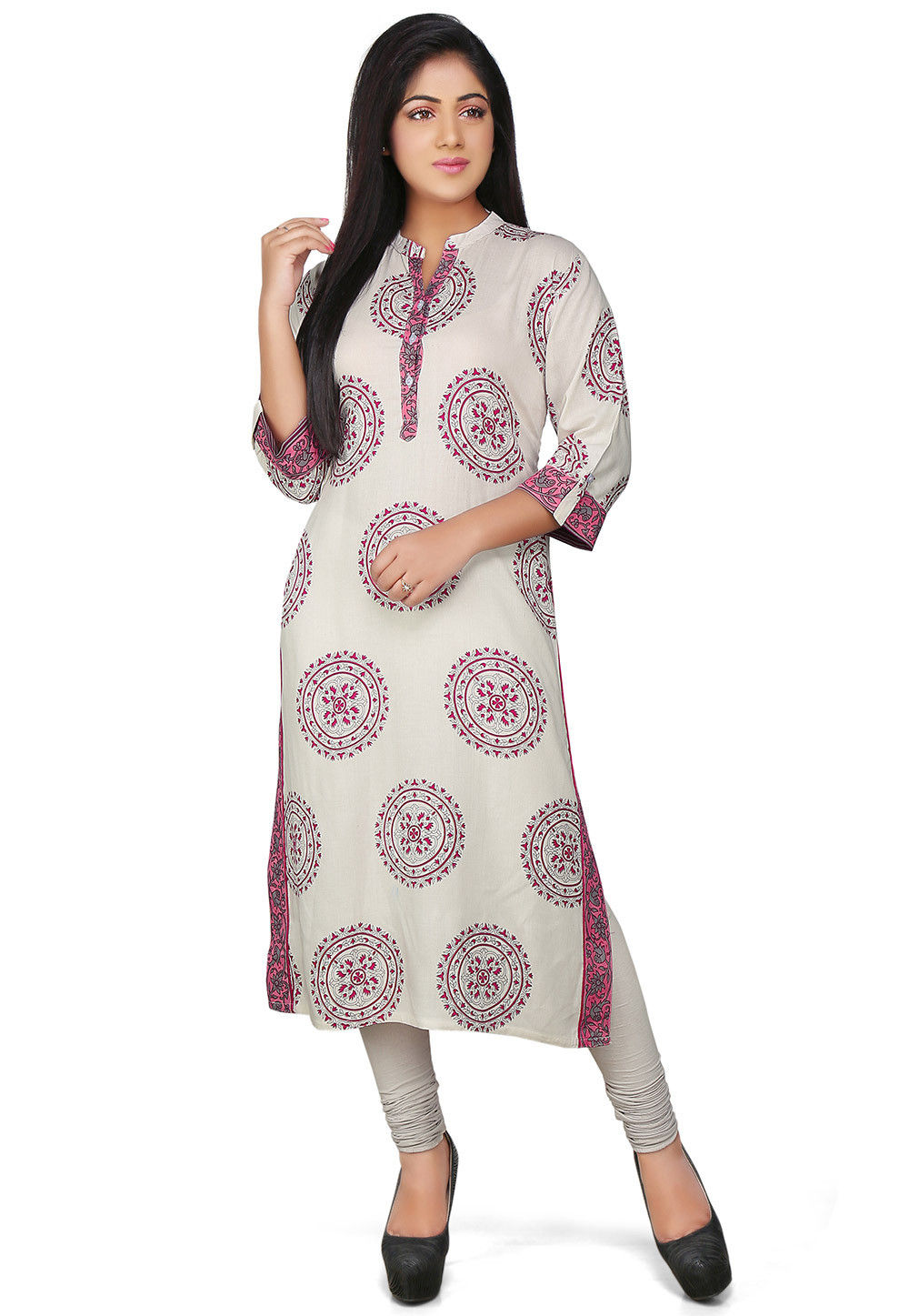 Printed Rayon Long Kurta in White