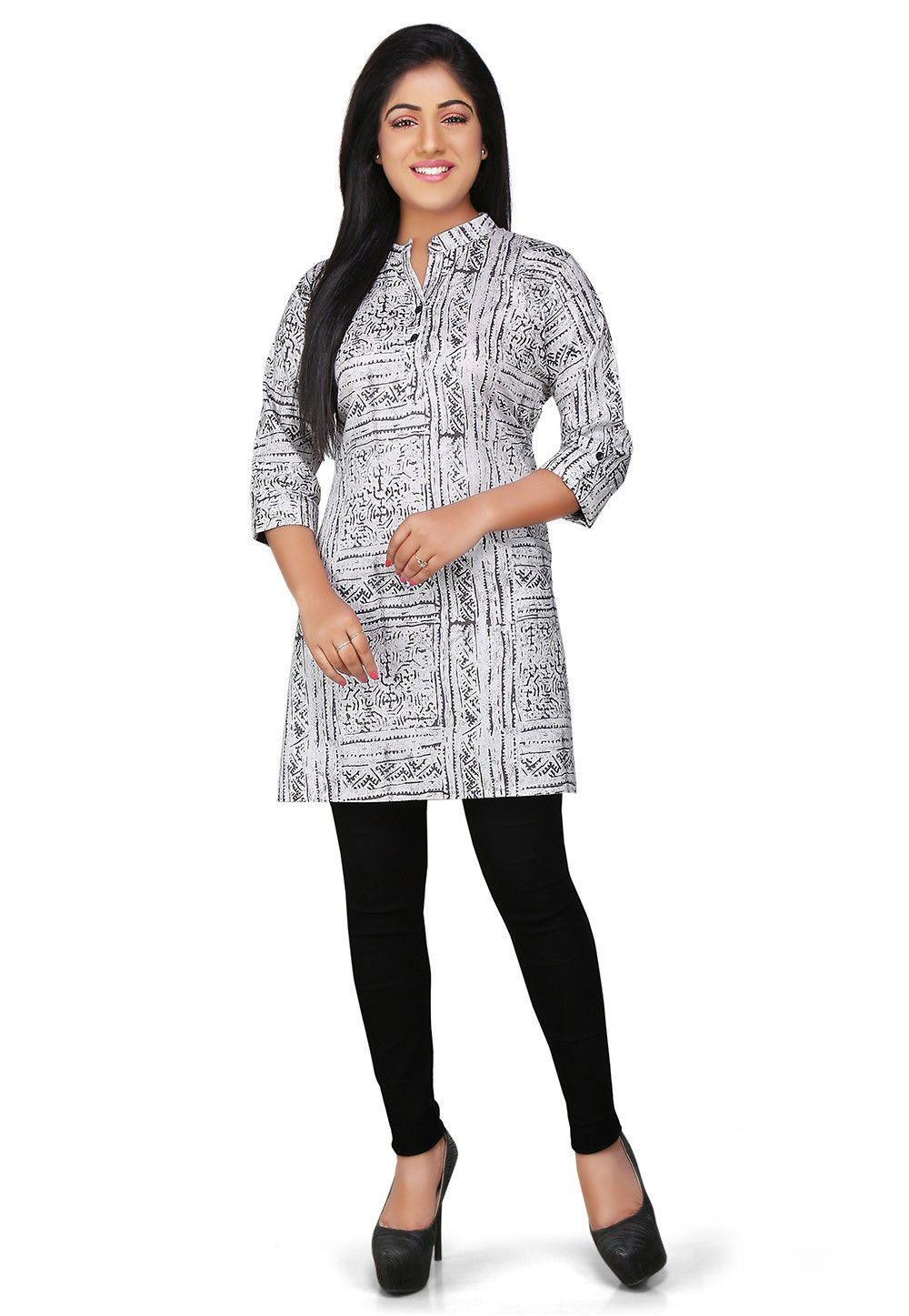 Printed Rayon Kurti in Off White