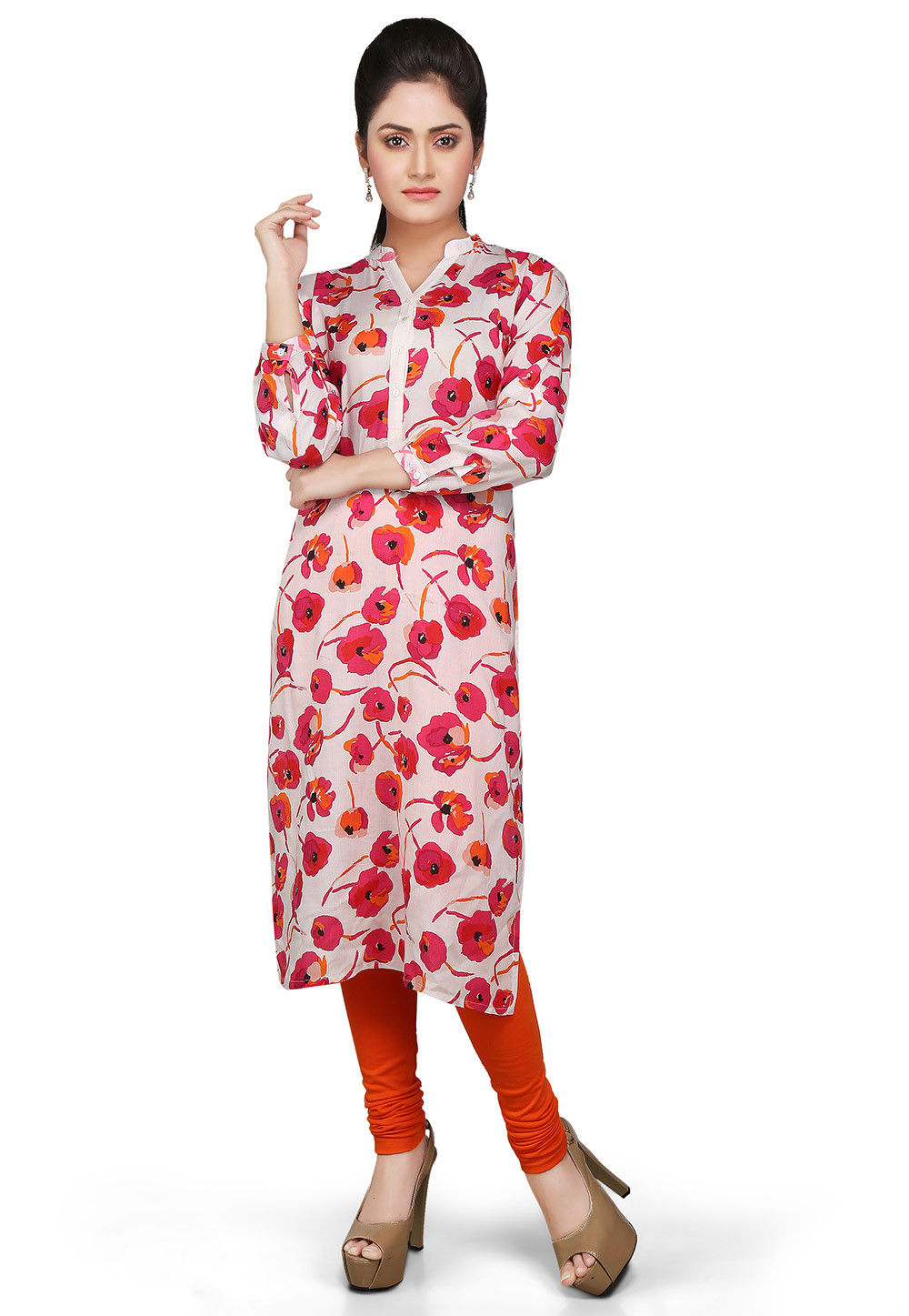 Printed Rayon Long Kurta in White and Pink