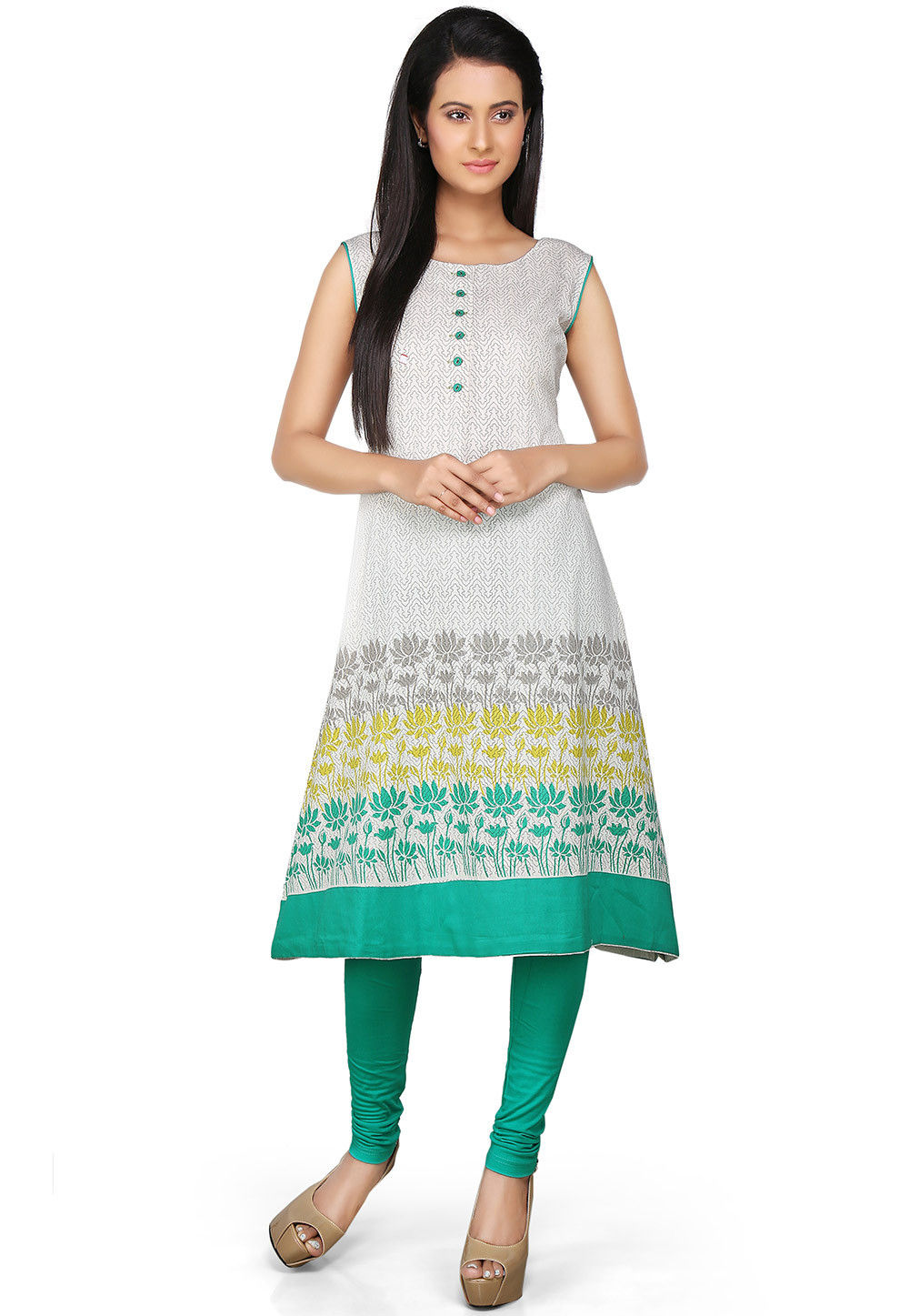 Printed Cotton A Line Kurta in Off White and Grey