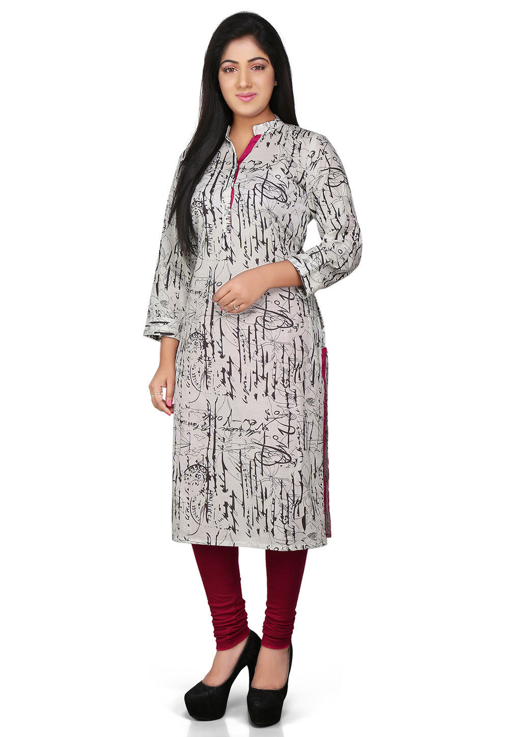 Printed Cotton Long Kurta in White