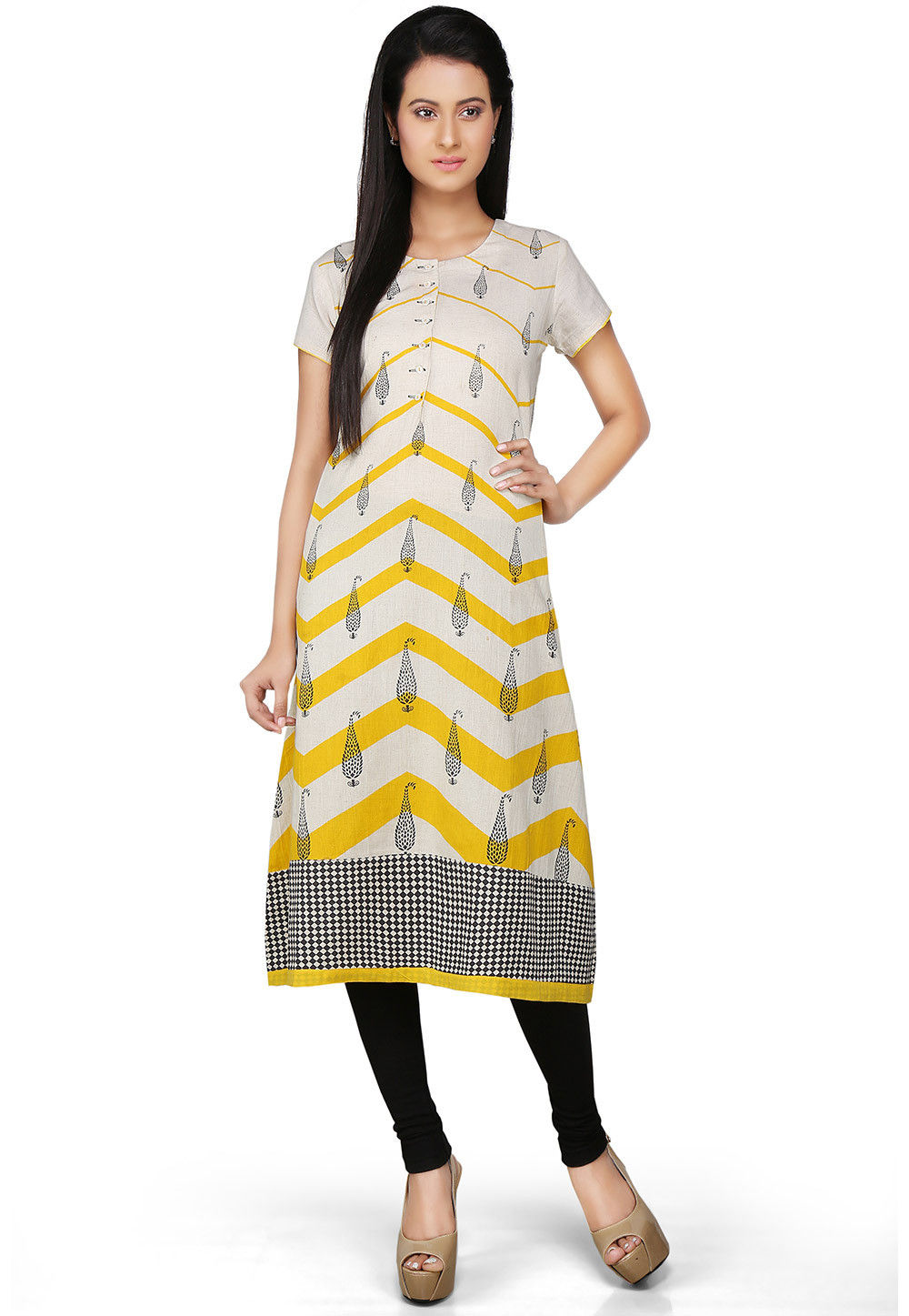 Printed Cotton Long Kurta in White and Yellow