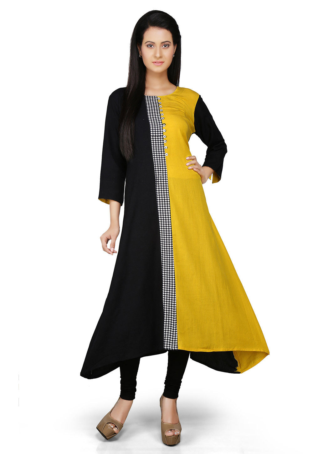Printed Cotton Asymmetric Long Kurta in Yellow and Black