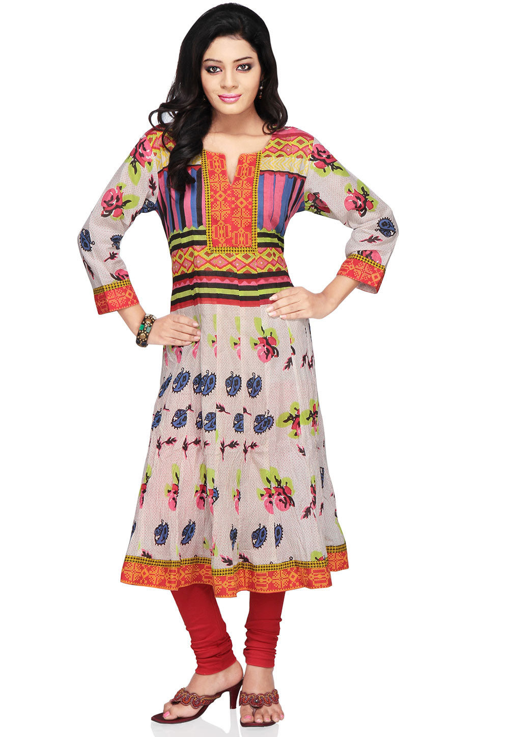 Printed Cotton Anarkali Long Kurta In Off White