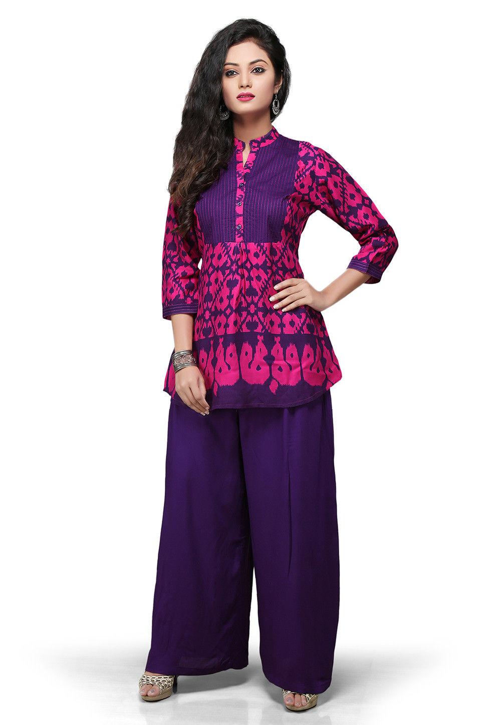 Printed Rayon Tunic In Fuchsia and purple