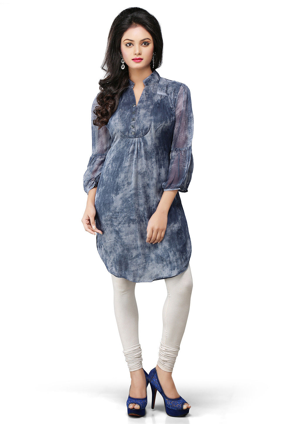 Printed Pure Crape Readymade Tunic in Blue