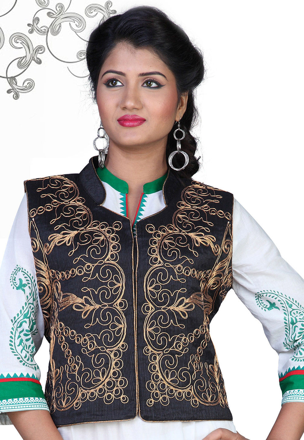 Embroidered Art Silk Jacket in Black