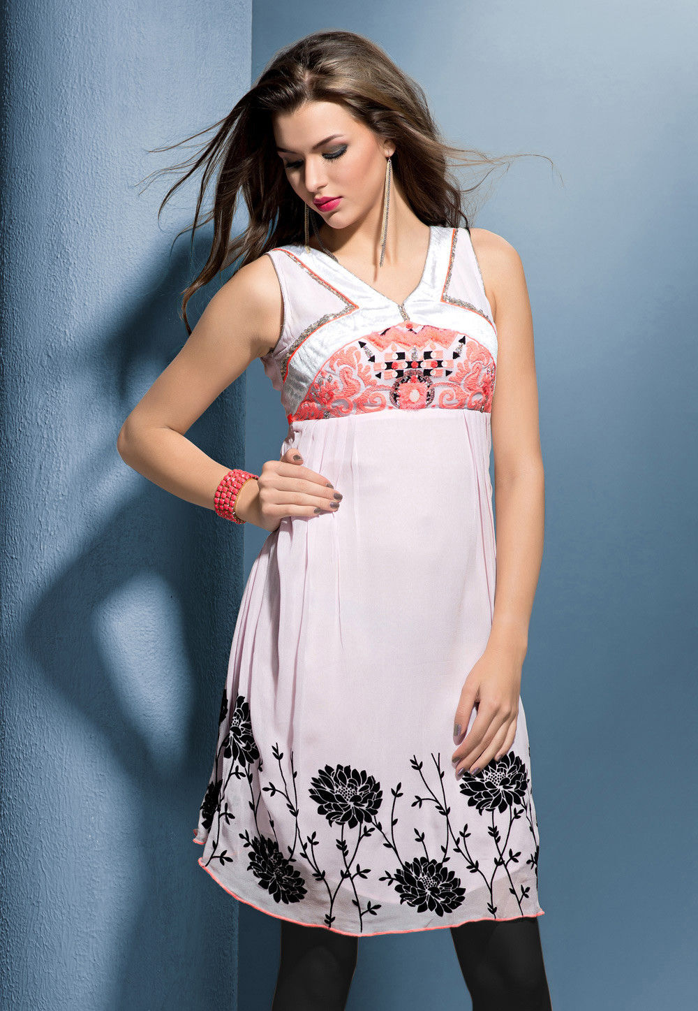 Embroidered Georgette Tunic In Baby Pink