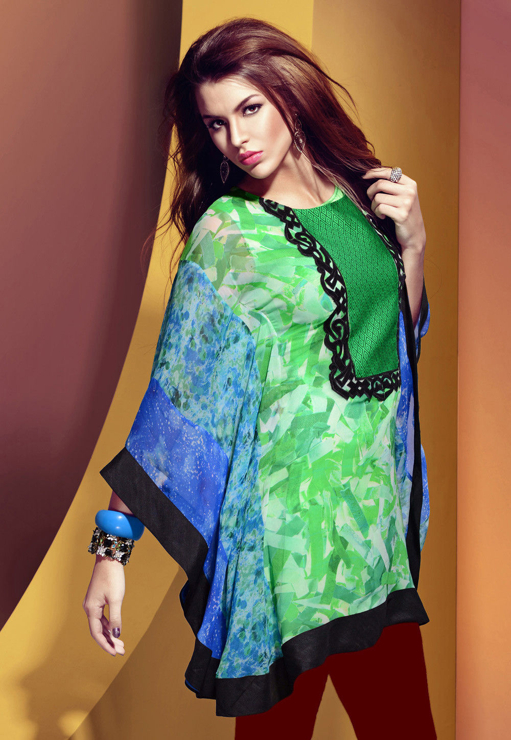 Green and Blue Faux Georgette Readymade Kaftan