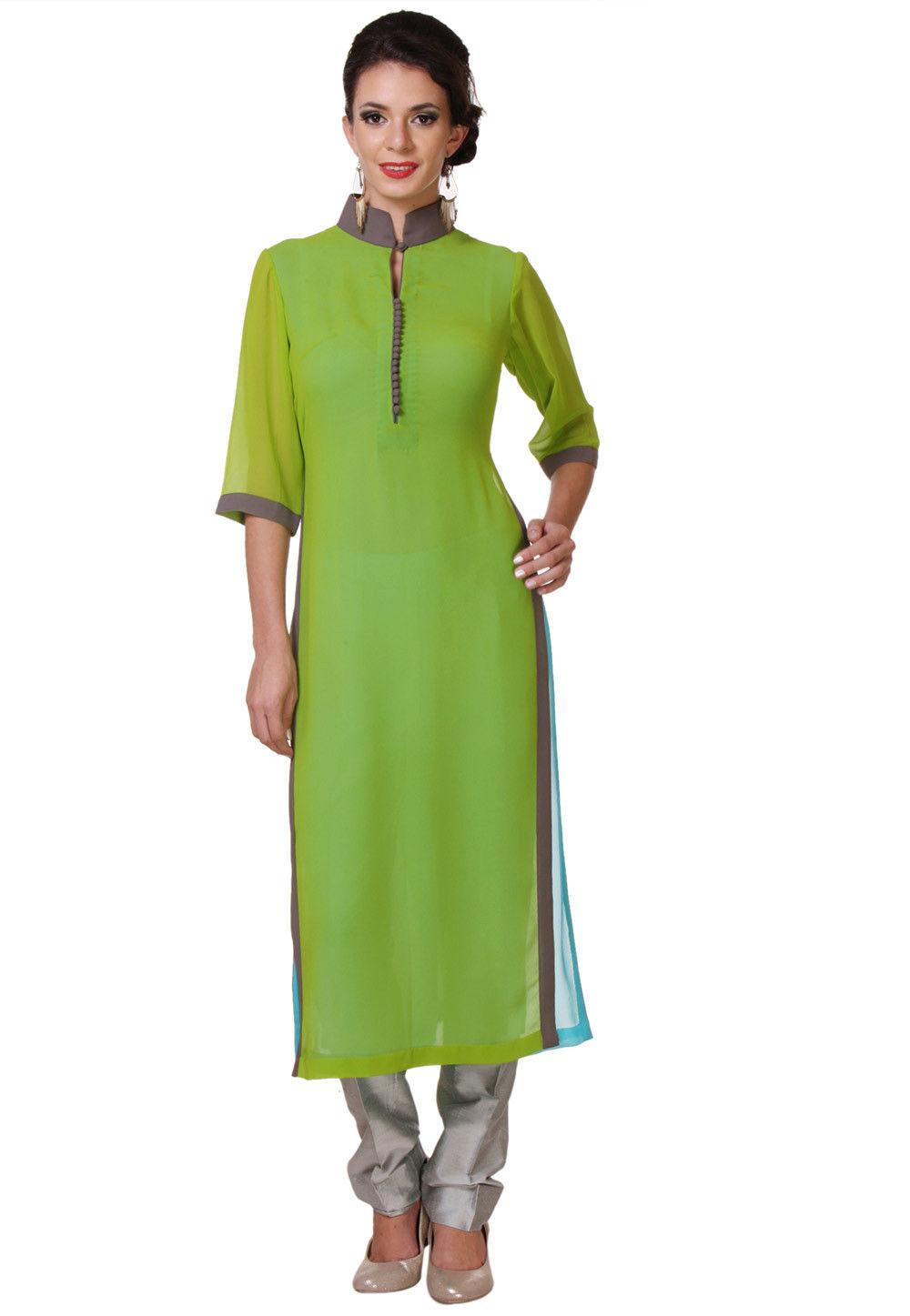 Plain Georgette Long Kurta in Light Green