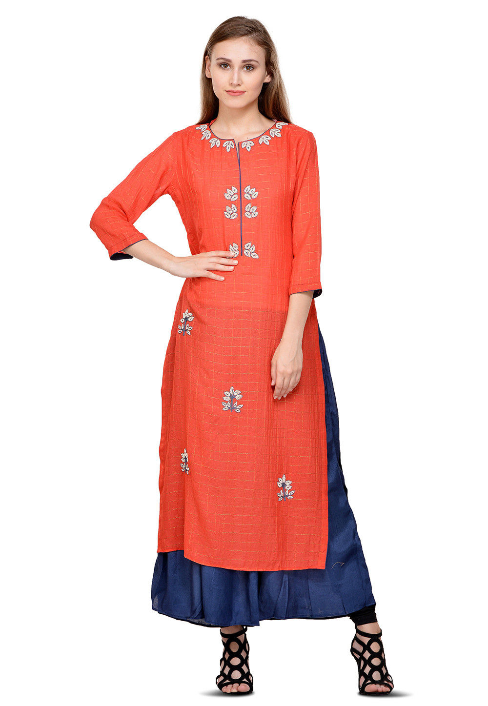 Hand Embroidered Georgette Layered Kurta in Red