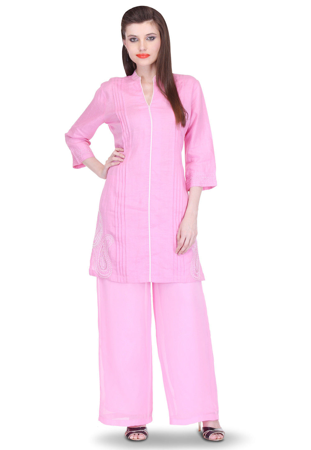 Embroidered Cotton Linen Kurti Set in Pink