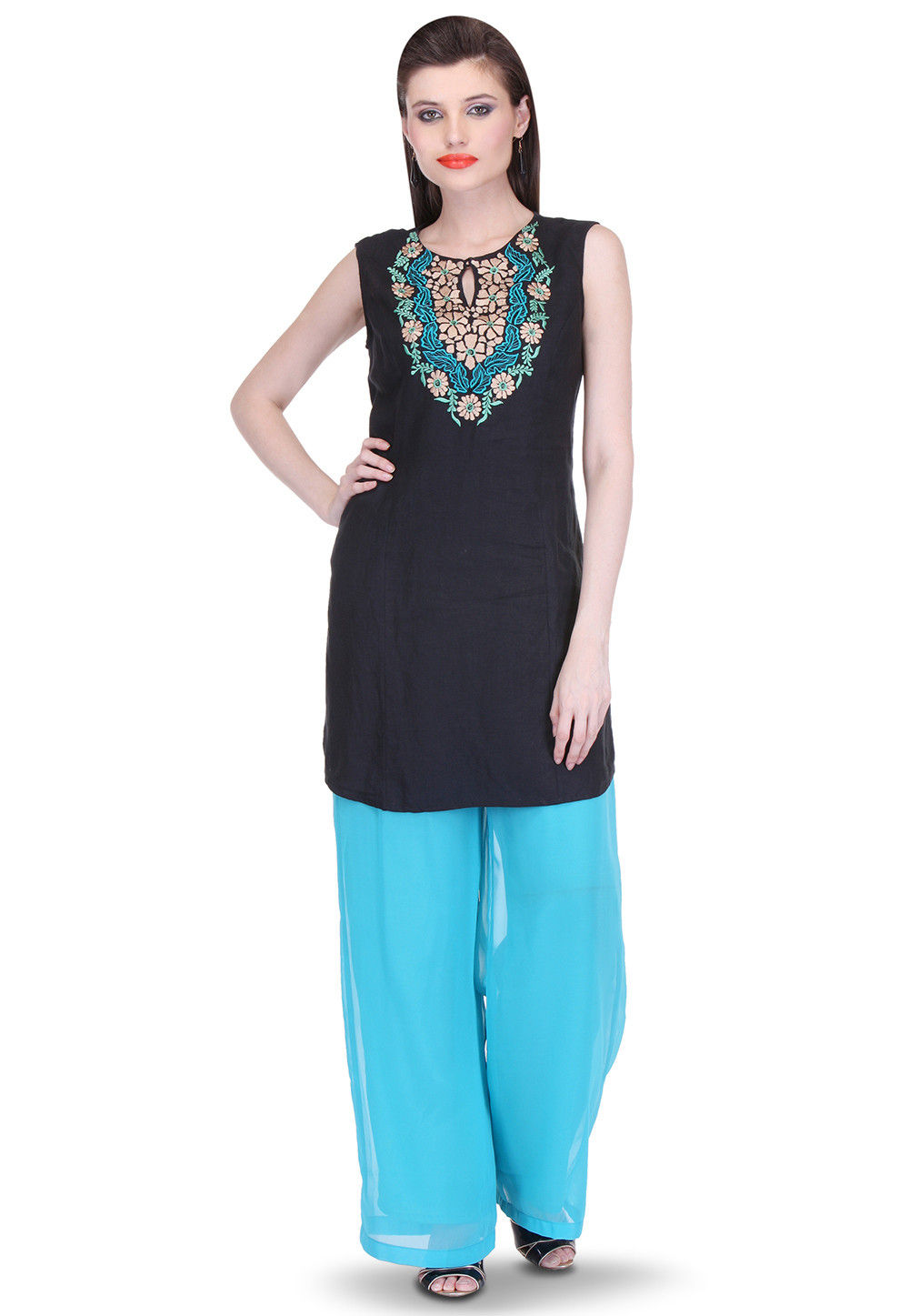 Embroidered Cotton Linen Kurti Set in Black