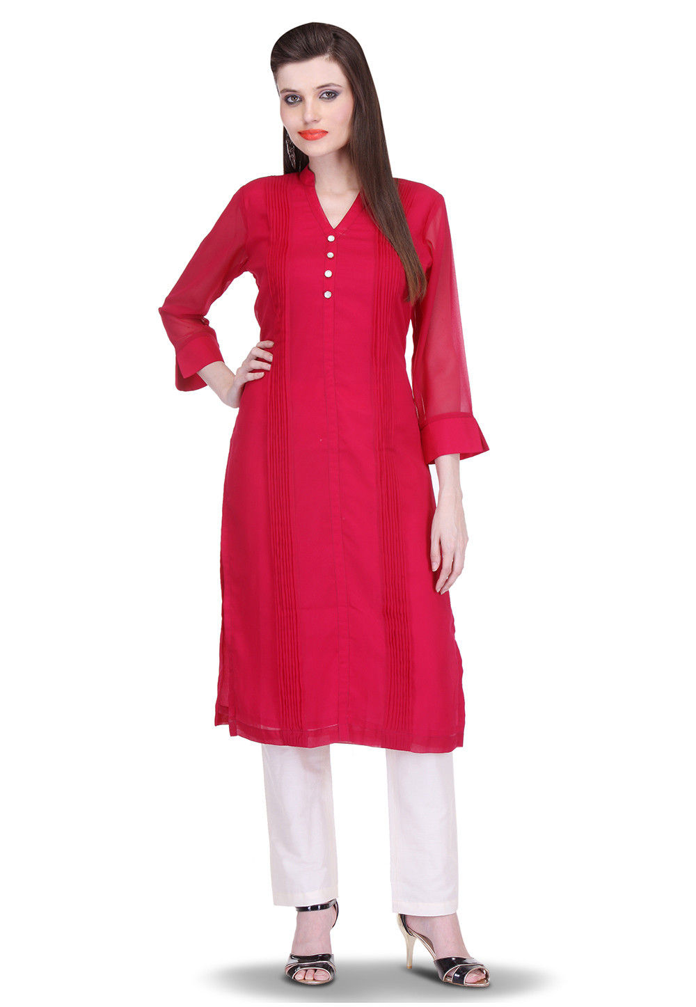 Viscose Georgette Long Kurta Set in Red