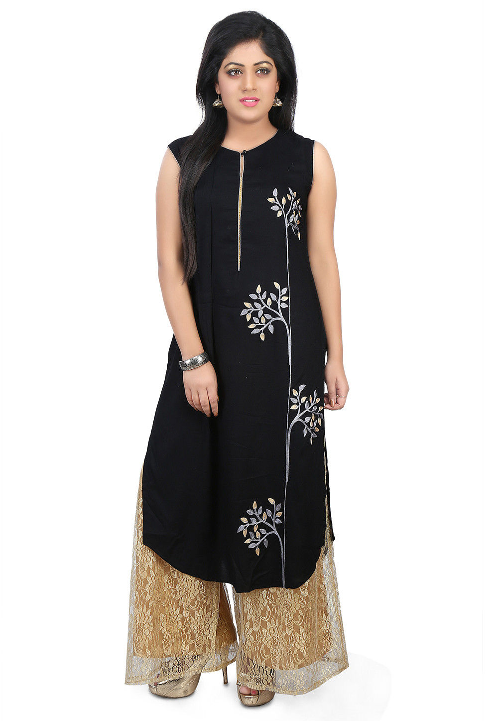 Embroidered Cotton Rayon Long Kurta Set in Black