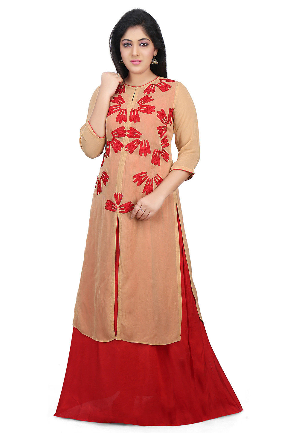 Embroidered Viscose Georgette Front Slit Long Kurta in Beige