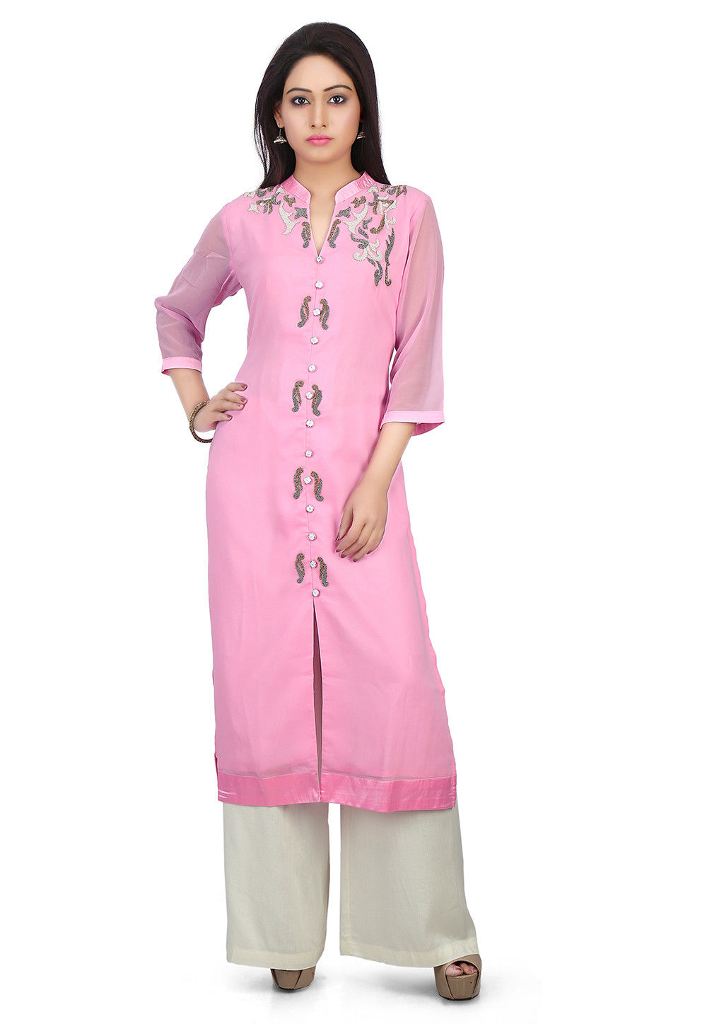 Embroidered Viscose Georgette Front Slit Long Kurta Set in Pink