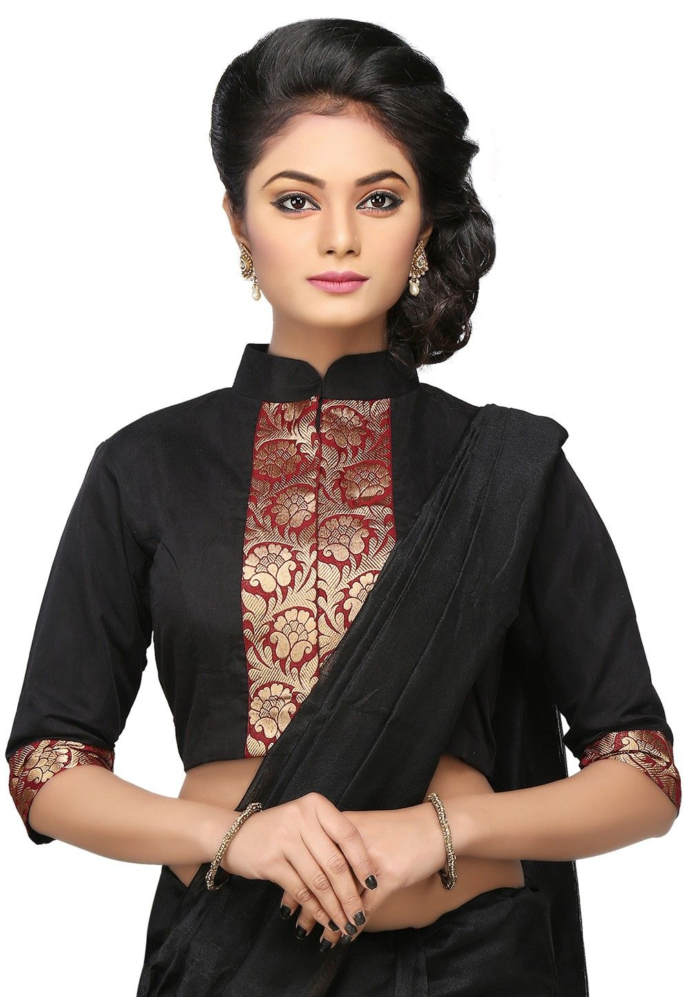 Zari Woven Chanderi Blouse in Black