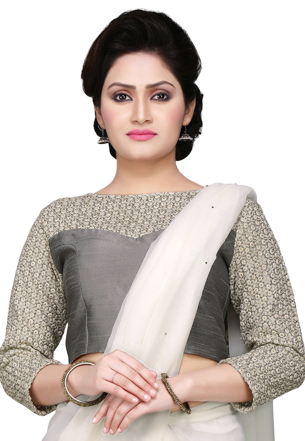 Embroidered Art Dupion Silk Blouse in Grey