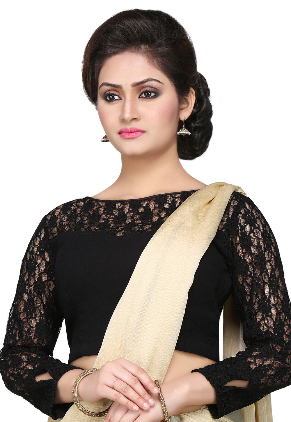 Georgette and Chantelle Net Blouse in Black