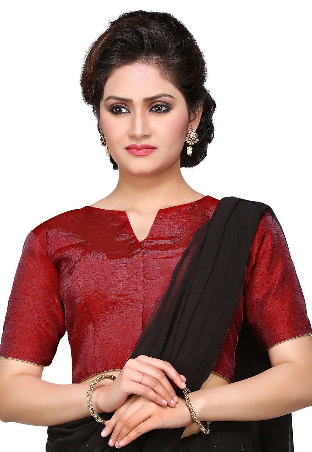 Art Dupion Silk Blouse in Maroon