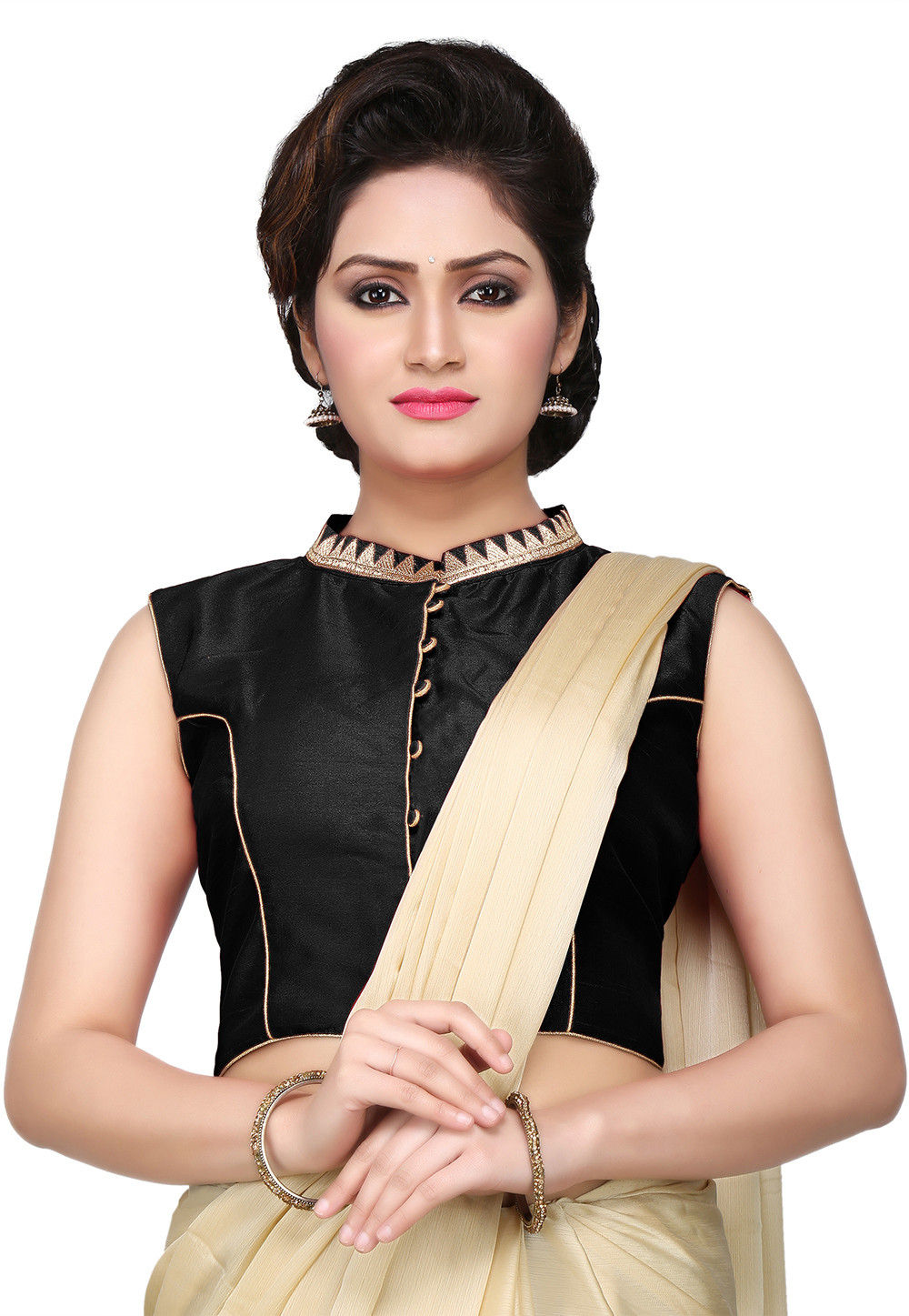 Embroidered Dupion Silk Blouse in Black