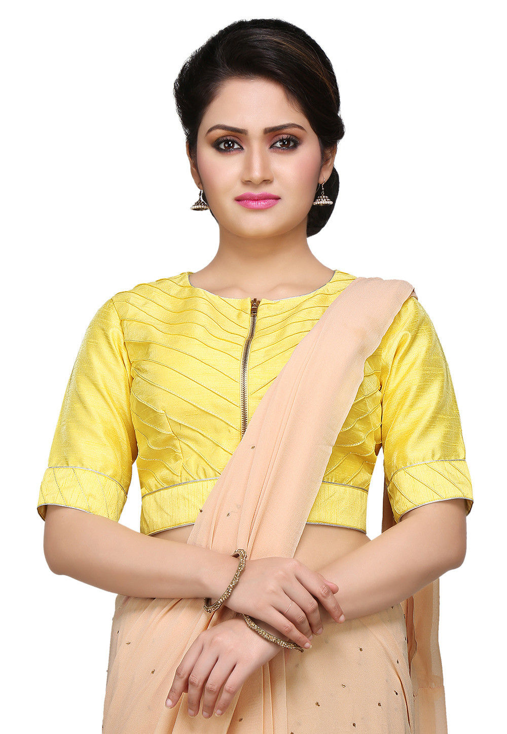 Embroidered Art silk Blouse in Yellow