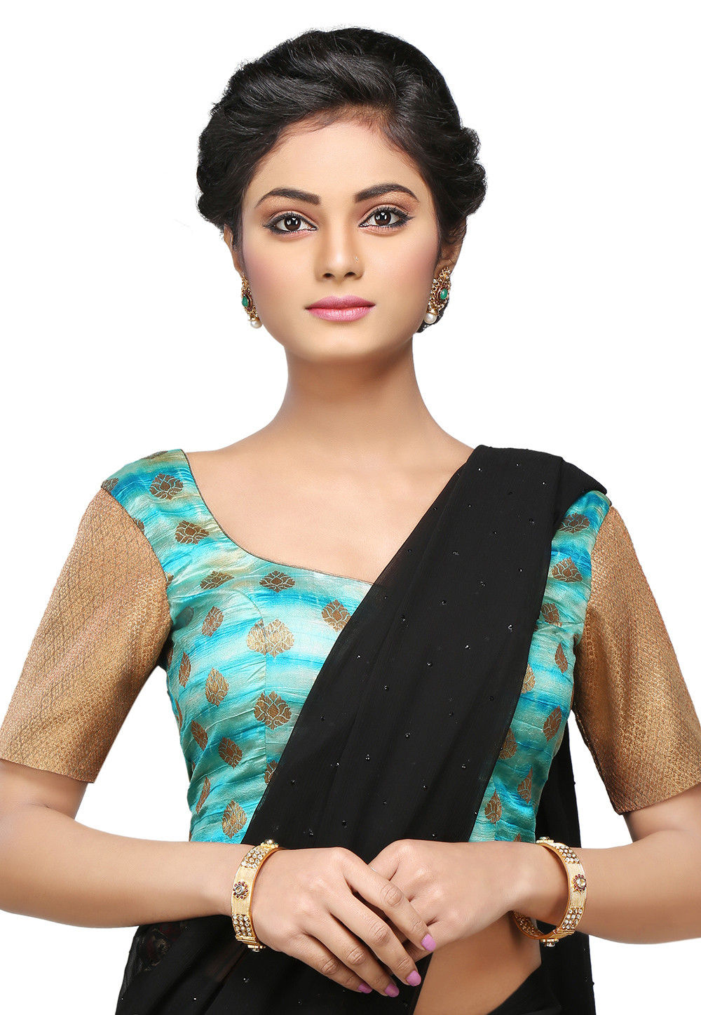 Zari Woven Pure Silk Blouse in Turquoise