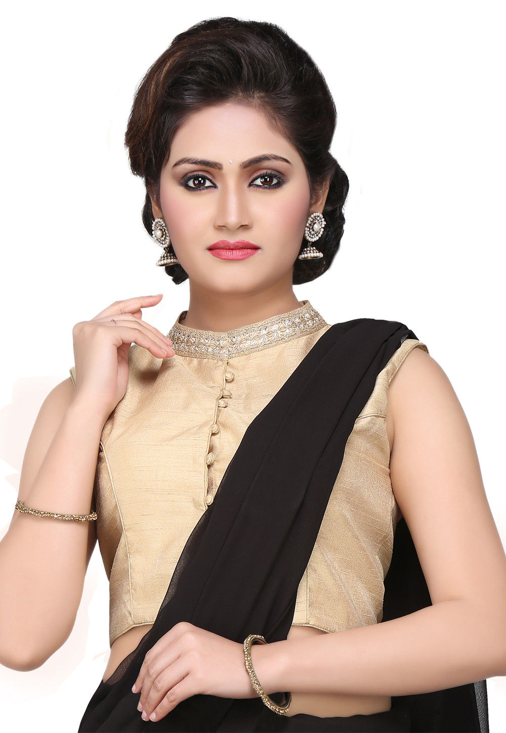 Embroidered Art Dupion Silk Blouse in Beige