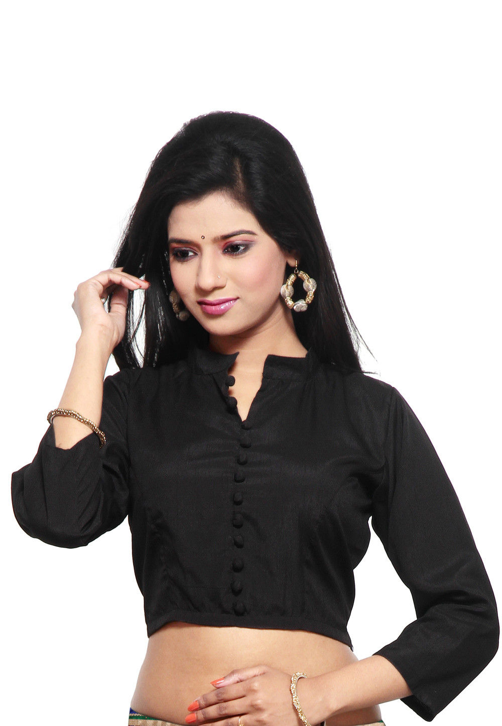 Art Raw Silk Blouse in Black
