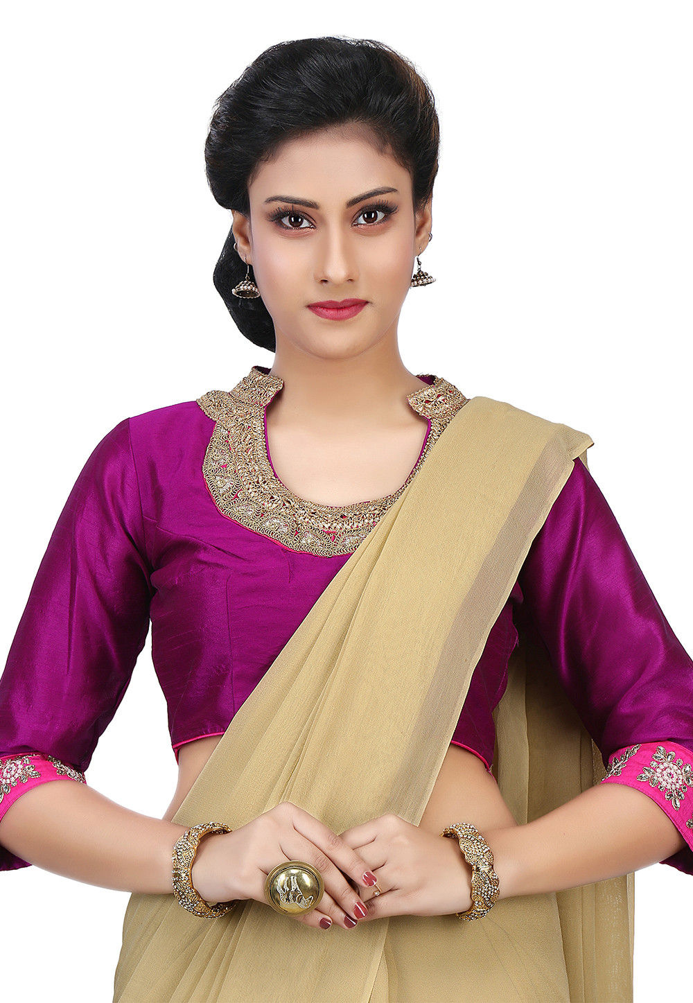 Embroidered Dupion Silk Blouse in Magenta