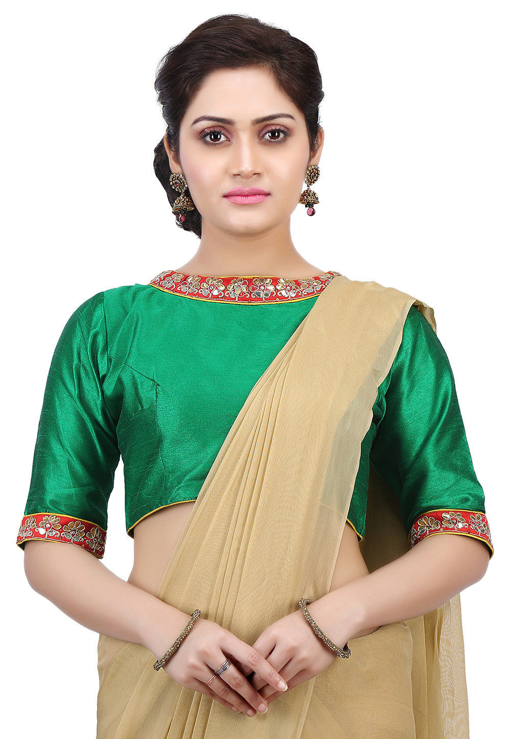 Plain Dupion Silk Blouse in Green