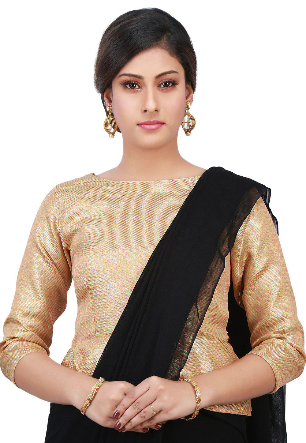 Plain Brocade Silk Peplum Style Blouse in Golden