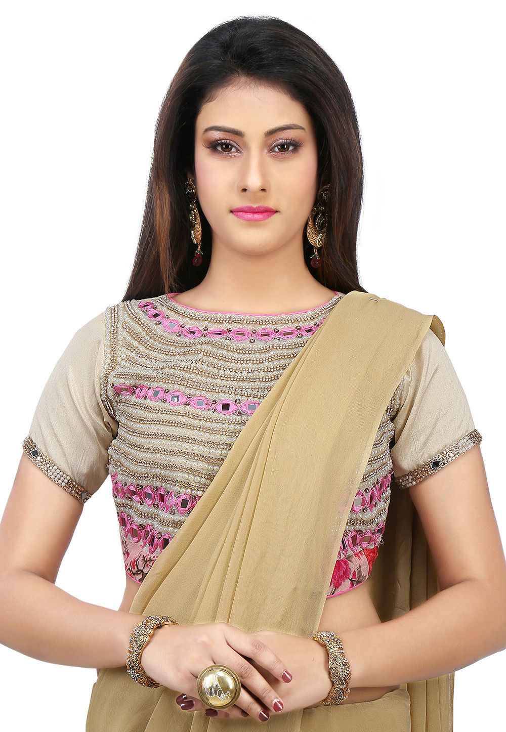 Embroidered Dupion Silk Blouse in Beige