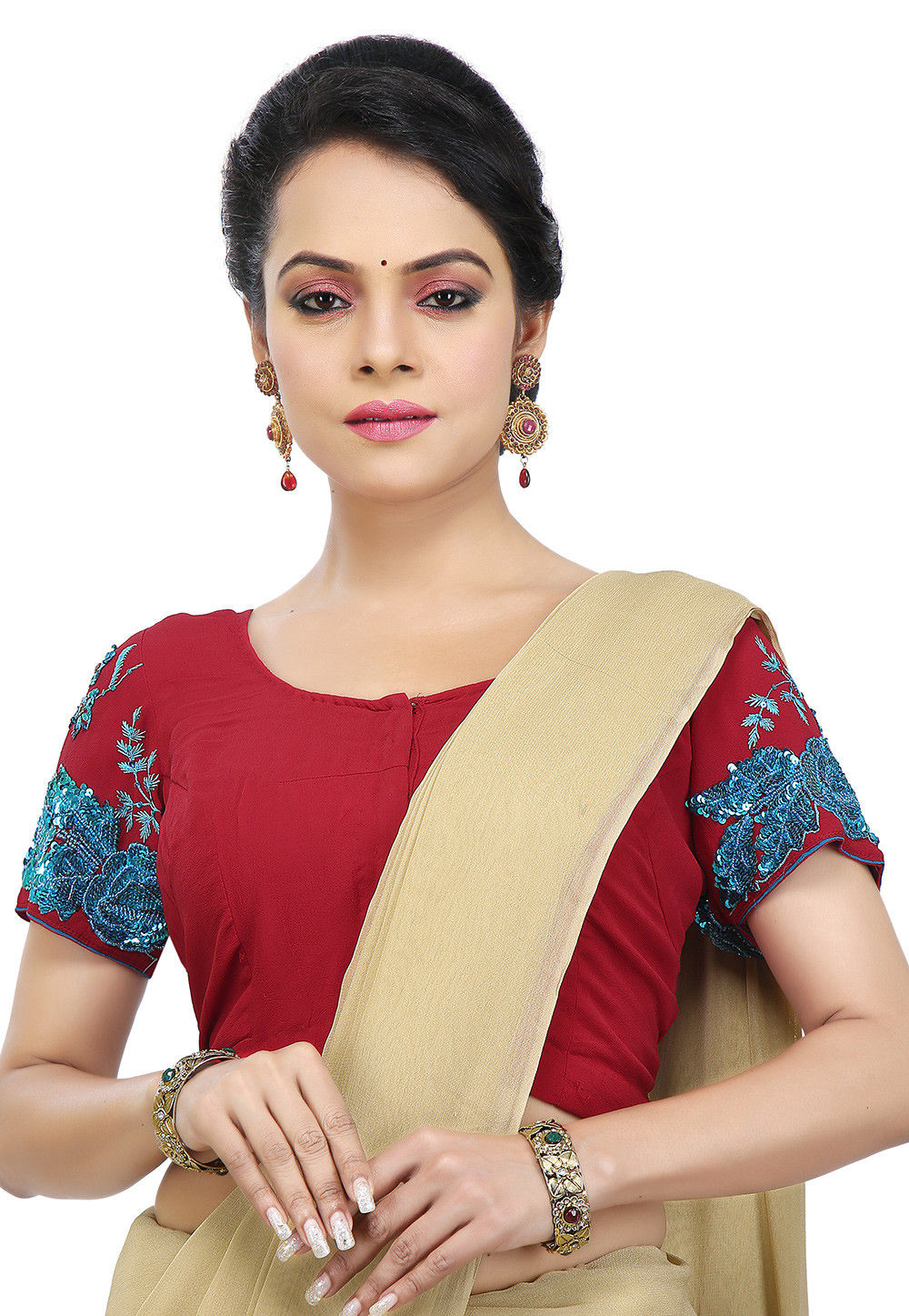 Hand Embroidered Georgette Blouse in Red