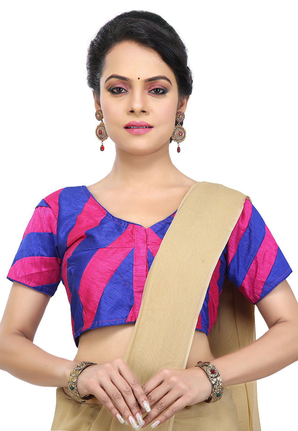 Plain Dupion Silk Blouse in Blue and Fuchsia