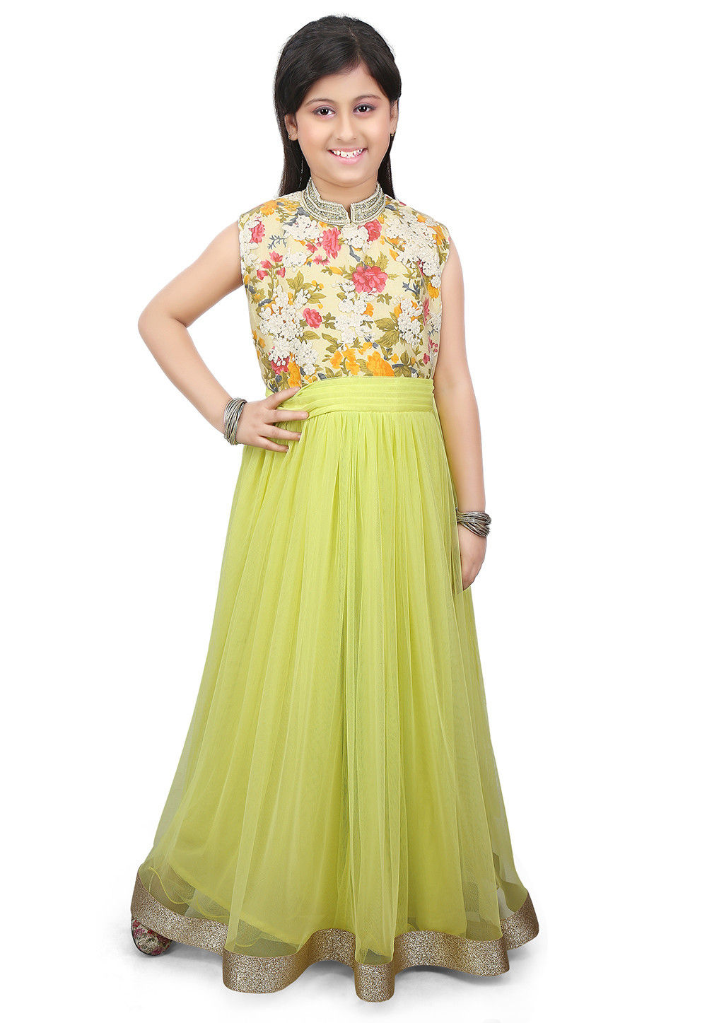Printed Net and Silk Gown in Light Green